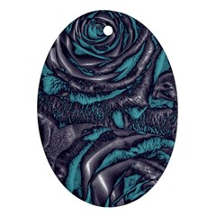 Gorgeous Roses, Aqua Ornament (Oval)