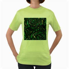 Gorgeous Roses, Aqua Women s Green T-Shirt