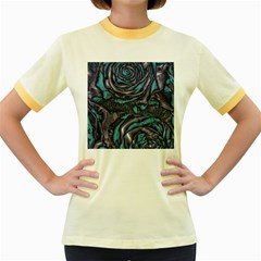 Gorgeous Roses, Aqua Women s Fitted Ringer T-Shirts
