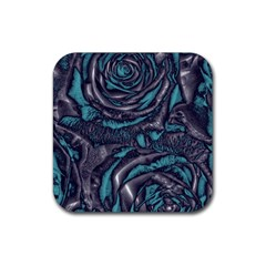 Gorgeous Roses, Aqua Rubber Coaster (Square)