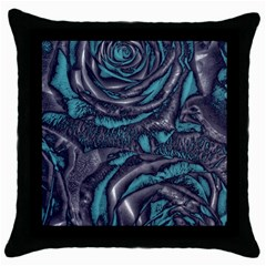 Gorgeous Roses, Aqua Throw Pillow Cases (Black)