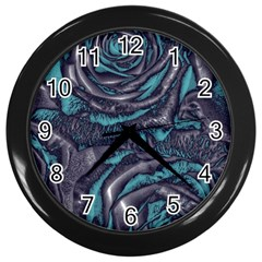 Gorgeous Roses, Aqua Wall Clocks (Black)