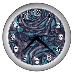 Gorgeous Roses, Aqua Wall Clocks (Silver)