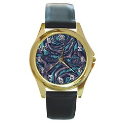 Gorgeous Roses, Aqua Round Gold Metal Watches
