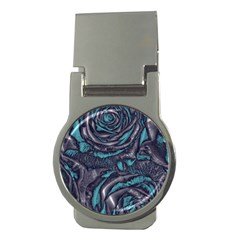Gorgeous Roses, Aqua Money Clips (Round)