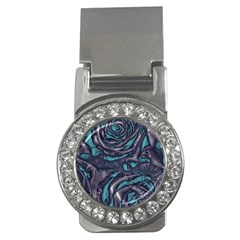 Gorgeous Roses, Aqua Money Clips (CZ)