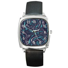 Gorgeous Roses, Aqua Square Metal Watches