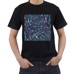 Gorgeous Roses, Aqua Men s T-Shirt (Black) (Two Sided)