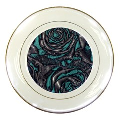 Gorgeous Roses, Aqua Porcelain Plates