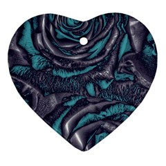 Gorgeous Roses, Aqua Heart Ornament (2 Sides)