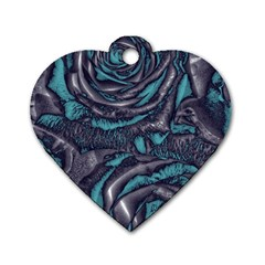 Gorgeous Roses, Aqua Dog Tag Heart (Two Sides)