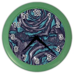 Gorgeous Roses, Aqua Color Wall Clocks