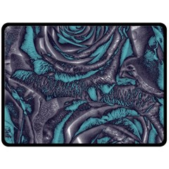 Gorgeous Roses, Aqua Fleece Blanket (Large)