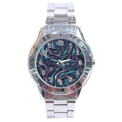 Gorgeous Roses, Aqua Stainless Steel Men s Watch