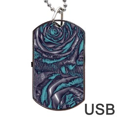 Gorgeous Roses, Aqua Dog Tag USB Flash (Two Sides)