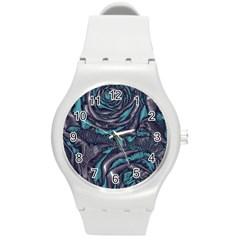 Gorgeous Roses, Aqua Round Plastic Sport Watch (M)