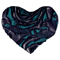 Gorgeous Roses, Aqua Large 19  Premium Heart Shape Cushions