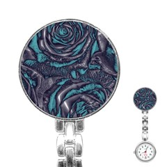 Gorgeous Roses, Aqua Stainless Steel Nurses Watches