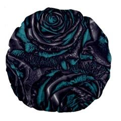 Gorgeous Roses, Aqua Large 18  Premium Flano Round Cushions