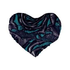 Gorgeous Roses, Aqua Standard 16  Premium Flano Heart Shape Cushions