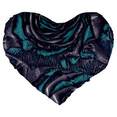 Gorgeous Roses, Aqua Large 19  Premium Flano Heart Shape Cushions