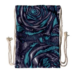 Gorgeous Roses, Aqua Drawstring Bag (Large)