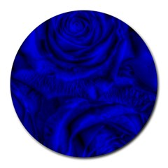 Gorgeous Roses,deep Blue Round Mousepads