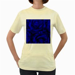 Gorgeous Roses,deep Blue Women s Yellow T-Shirt
