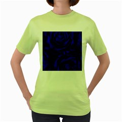 Gorgeous Roses,deep Blue Women s Green T Shirt