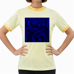 Gorgeous Roses,deep Blue Women s Fitted Ringer T-Shirts
