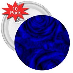 Gorgeous Roses,deep Blue 3  Buttons (10 pack)