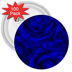 Gorgeous Roses,deep Blue 3  Buttons (100 Pack)