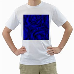 Gorgeous Roses,deep Blue Men s T Shirt (white) (two Sided)