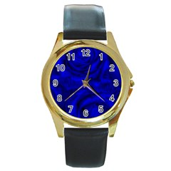 Gorgeous Roses,deep Blue Round Gold Metal Watches