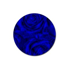 Gorgeous Roses,deep Blue Rubber Round Coaster (4 Pack)
