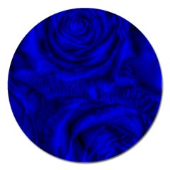 Gorgeous Roses,deep Blue Magnet 5  (round)