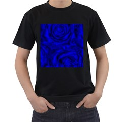 Gorgeous Roses,deep Blue Men s T Shirt (black) (two Sided)