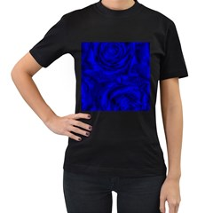 Gorgeous Roses,deep Blue Women s T-Shirt (Black) (Two Sided)