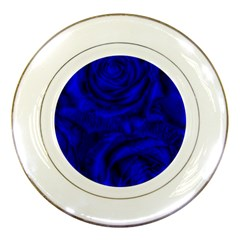 Gorgeous Roses,deep Blue Porcelain Plates