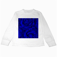 Gorgeous Roses,deep Blue Kids Long Sleeve T Shirts