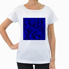 Gorgeous Roses,deep Blue Women s Loose Fit T Shirt (white)