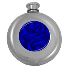 Gorgeous Roses,deep Blue Round Hip Flask (5 Oz)