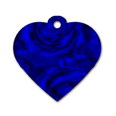 Gorgeous Roses,deep Blue Dog Tag Heart (one Side)