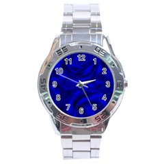 Gorgeous Roses,deep Blue Stainless Steel Men s Watch