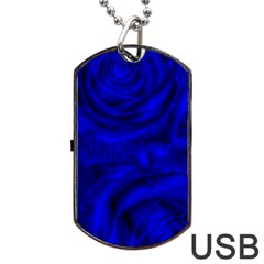 Gorgeous Roses,deep Blue Dog Tag USB Flash (One Side)