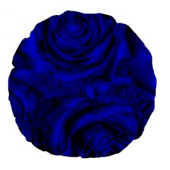 Gorgeous Roses,deep Blue Large 18  Premium Flano Round Cushions