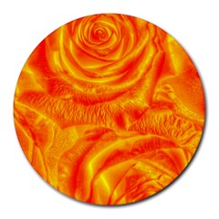 Gorgeous Roses, Orange Round Mousepads