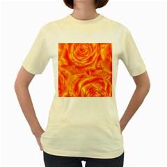 Gorgeous Roses, Orange Women s Yellow T Shirt