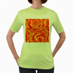 Gorgeous Roses, Orange Women s Green T Shirt