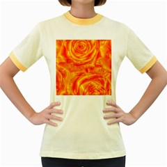 Gorgeous Roses, Orange Women s Fitted Ringer T-Shirts